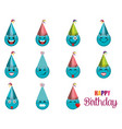 happy birthday card with emoticon vector image