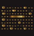 heraldic crown collection big set golden vector image