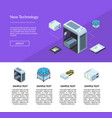 isometric electronic devices website page vector image vector image