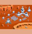 isometric mars colonization vector image vector image