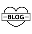 like heart blog icon outline style vector image vector image