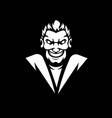 mad man mascot logo black and white version vector image