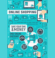 online shopping technology poster vector image vector image