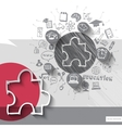 Paper and hand drawn puzzle emblem with icons vector image vector image
