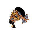 portrait beautiful african woman in ethnic turban vector image