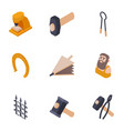 produce a metal icons set isometric style vector image vector image