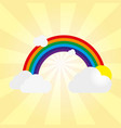 rainbow with gray clouds and sun on a yellow vector image vector image