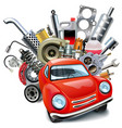red automobile with car spares
