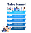 sales funnel with people portrait stages business vector image vector image