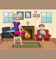 scene with people in family relaxing at home vector image vector image