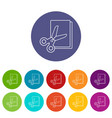 scissors paper icons set color vector image