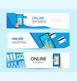 set horizontal banners on topic online vector image