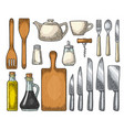 set kitchen utensils vintage engraving vector image vector image