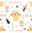 tender cat pattern vector image vector image
