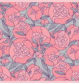 tender pink round peony flower seamless pattern vector image vector image