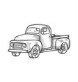 truck in vintage engraved style vector image vector image