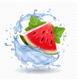 watermelon in water splash realistic fruit icon vector image vector image