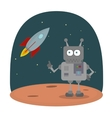 Cartoon character of robot on planet in vector image