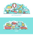 air transport and cars banner templates set vector image