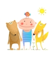 Animals and child friends fox bear bird kid vector image