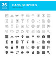 bank services line web glyph icons vector image vector image