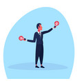 businessman holding light lamps new creative idea vector image vector image