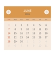 Calendar monthly june 2015 in flat design vector image vector image