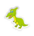 cartoon cute little badinosaur sticker vector image vector image