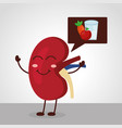 cartoon happy human kidney with food healthy vector image