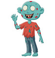 cartoon zombie stand waving on white background vector image vector image
