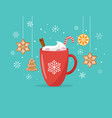 christmas winter scene with a big cocoa mug and vector image
