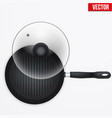 classic metal black grill pan vector image vector image