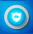 cloud and shield icon isolated on blue background vector image vector image