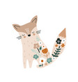 cute floral fox print perfect for t-shirt apparel vector image