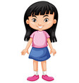 cute girl with black hair vector image vector image