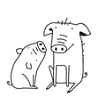 Cute Pigs Outline Funny for Kids Mom vector image vector image