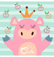 cute princess pig symbol 2019 vector image