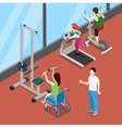 Disable Woman on Wheelchair Exercising in Gym vector image vector image
