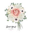 floral card design with flower bouquet bunch vector image