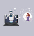 free chat bot robot virtual assistance on laptop vector image vector image