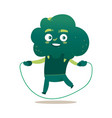funny smiling broccoli character with jumping rope vector image vector image