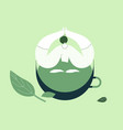 girl sitting in a cup tea flat design style vector image vector image