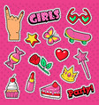 girls trendy doodle with lipstick cake vector image vector image