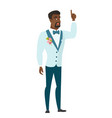 groom with open mouth pointing finger up vector image vector image