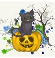 Halloween Background With Pumpkins And Cat vector image vector image