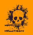 halloween poster with grunge skull vector image