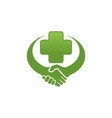 handshake clinic logo vector image vector image