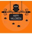 Happy Halloween card Owl bird spider on dash line vector image vector image