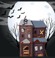 haunted house on fullmoon night vector image vector image