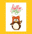 holly jolly greeting card in frame and penguin vector image vector image